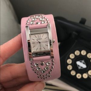 Guess watch w/Pink-lavender leather band & studs